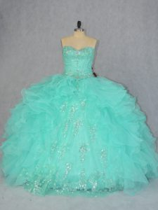 Discount Sleeveless Lace Up Floor Length Beading and Ruffles Quince Ball Gowns