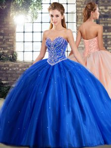 Sleeveless Beading Lace Up 15 Quinceanera Dress with Blue Brush Train