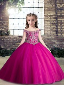 Fancy Tulle Sleeveless Floor Length Little Girls Pageant Dress Wholesale and Beading