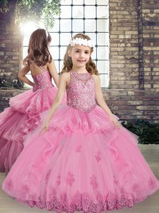 Lilac Ball Gowns Beading and Appliques Kids Pageant Dress Lace Up Tulle Sleeveless Floor Length