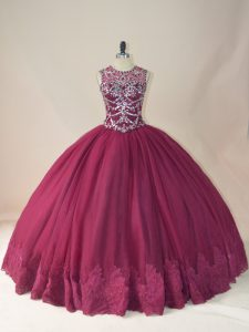 Artistic Scoop Long Sleeves Lace Up 15th Birthday Dress Burgundy Tulle