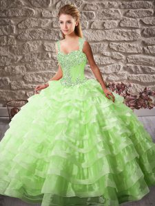 Trendy Quinceanera Dress Organza Court Train Sleeveless Beading and Ruffled Layers