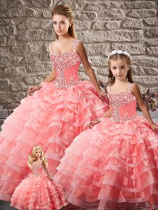 Exquisite Straps Sleeveless Court Train Lace Up Vestidos de Quinceanera Watermelon Red Organza
