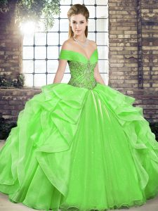 Decent Sleeveless Organza Lace Up Sweet 16 Dresses for Military Ball and Sweet 16 and Quinceanera