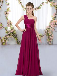 High Class One Shoulder Sleeveless Court Dresses for Sweet 16 Floor Length Belt Fuchsia Chiffon