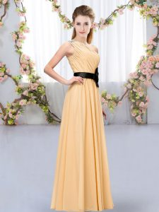 Pretty Orange Sleeveless Belt Floor Length Court Dresses for Sweet 16