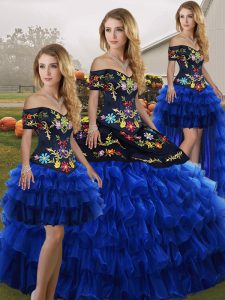 Cheap Blue And Black Sleeveless Floor Length Embroidery and Ruffled Layers Lace Up Quinceanera Gowns