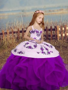 Purple Sleeveless Embroidery and Ruffles Floor Length Girls Pageant Dresses