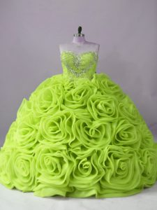Sleeveless Fabric With Rolling Flowers Brush Train Lace Up Sweet 16 Dress in Yellow Green with Beading