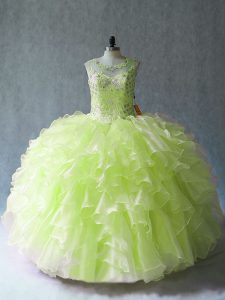 Ball Gowns Quinceanera Gowns Yellow Green Scoop Organza Sleeveless Floor Length Lace Up