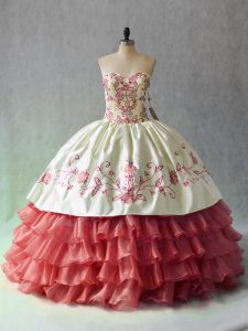 White And Red Sweetheart Neckline Embroidery and Ruffled Layers 15 Quinceanera Dress Sleeveless Lace Up
