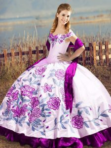 Smart Purple Satin and Organza Lace Up Off The Shoulder Sleeveless Floor Length Vestidos de Quinceanera Embroidery