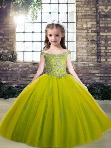 Olive Green Sleeveless Tulle Lace Up Pageant Dress for Teens for Party and Sweet 16 and Quinceanera