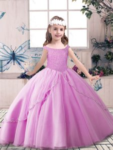Adorable Off The Shoulder Sleeveless Lace Up Kids Pageant Dress Lilac Tulle