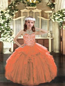 Orange Lace Up Pageant Gowns For Girls Beading and Ruffles Sleeveless Floor Length