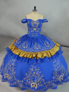 New Arrival Satin and Organza Off The Shoulder Sleeveless Lace Up Embroidery Quinceanera Gowns in Blue