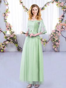 Empire Dama Dress Apple Green Off The Shoulder Tulle Half Sleeves Floor Length Side Zipper