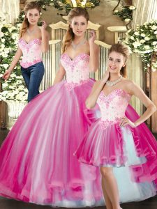 Discount Fuchsia Ball Gowns Tulle Sweetheart Sleeveless Beading Floor Length Lace Up 15 Quinceanera Dress