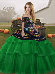Lace Up Quinceanera Gown Green for Military Ball and Sweet 16 and Quinceanera with Embroidery and Ruffled Layers Brush Train