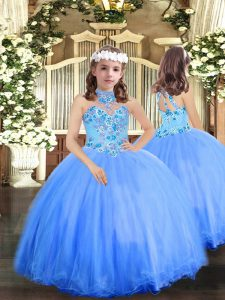 Blue Sleeveless Floor Length Appliques Lace Up Little Girls Pageant Dress Wholesale