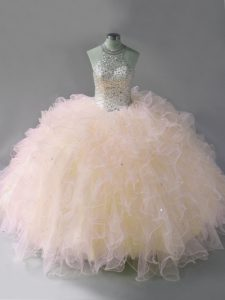 Fabulous Pink Tulle Lace Up Halter Top Sleeveless Floor Length 15th Birthday Dress Beading and Ruffles