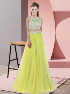 Sleeveless Floor Length Lace Zipper Damas Dress with Yellow