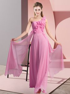 Fashion One Shoulder Sleeveless Court Dresses for Sweet 16 Floor Length Hand Made Flower Rose Pink Chiffon