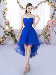 Excellent Royal Blue A-line Lace Quinceanera Court Dresses Lace Up Tulle Sleeveless High Low