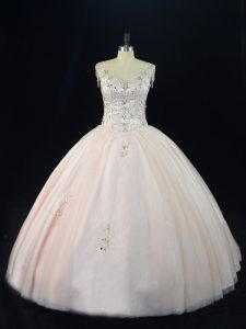 Floor Length Ball Gowns Sleeveless Pink 15th Birthday Dress Lace Up