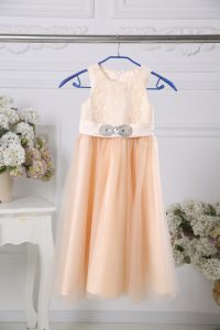 Peach Scoop Zipper Lace and Belt Toddler Flower Girl Dress Sleeveless