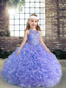 Beading and Ruffles Little Girls Pageant Dress Lavender Lace Up Sleeveless Floor Length