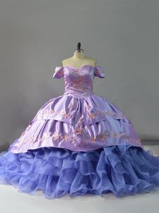 Colorful Lavender Lace Up Sweet 16 Quinceanera Dress Embroidery and Ruffles Sleeveless Chapel Train