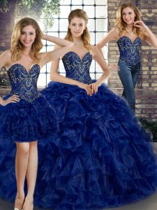 Modern Floor Length Royal Blue Sweet 16 Quinceanera Dress Organza Sleeveless Beading and Ruffles