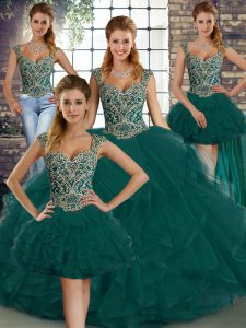 Great Sleeveless Beading and Ruffles Lace Up Sweet 16 Quinceanera Dress
