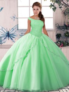 Sleeveless Brush Train Beading Lace Up Quinceanera Gown