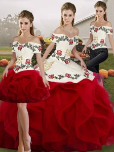 Popular White And Red Off The Shoulder Lace Up Embroidery and Ruffles Quince Ball Gowns Sleeveless