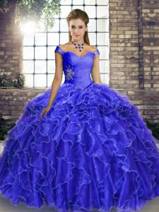Suitable Royal Blue Organza Lace Up Off The Shoulder Sleeveless 15 Quinceanera Dress Brush Train Beading and Ruffles