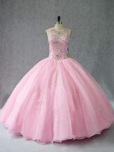 Trendy Sleeveless Organza Floor Length Lace Up Quinceanera Gowns in Baby Pink with Beading