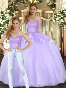 Eye-catching Floor Length Lace Up Vestidos de Quinceanera Lavender for Military Ball and Sweet 16 and Quinceanera with Beading