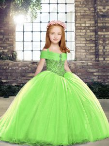Nice Straps Sleeveless Tulle Little Girls Pageant Gowns Beading Lace Up