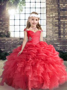 Stylish Red Sleeveless Beading Floor Length Kids Pageant Dress