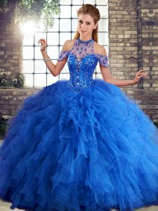 Royal Blue Sleeveless Beading and Ruffles Floor Length Quinceanera Dresses