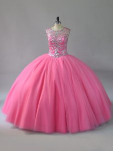 Smart Scoop Sleeveless Lace Up Beading Quinceanera Gown in Pink