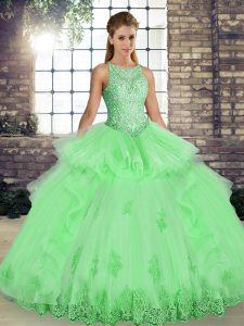 High Class Sleeveless Lace and Embroidery and Ruffles Lace Up Quinceanera Dress