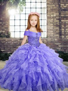 Fashion Lavender Ball Gowns Organza Straps Sleeveless Beading and Ruffles Floor Length Lace Up Girls Pageant Dresses