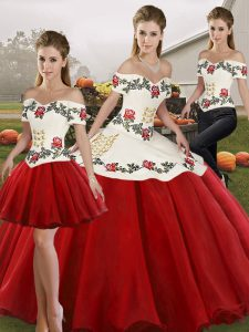 Captivating White And Red Sleeveless Floor Length Embroidery Lace Up Sweet 16 Quinceanera Dress