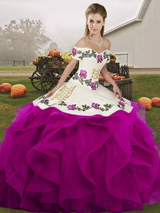 Off The Shoulder Sleeveless Lace Up Vestidos de Quinceanera White And Purple Tulle