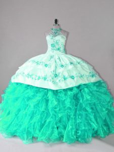Glorious Sleeveless Embroidery and Ruffles Lace Up Quince Ball Gowns with Turquoise Court Train