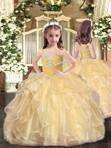 Lovely Sleeveless Lace Up Floor Length Beading and Ruffles Glitz Pageant Dress