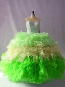 Custom Designed Multi-color Lace Up Party Dress for Girls Beading and Ruffles Sleeveless Floor Length